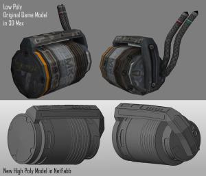 Low poly game model vs high poly 3D print model