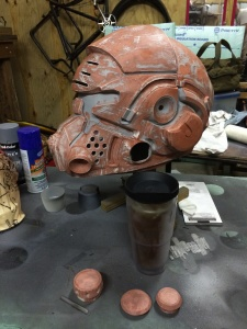 Helmet after bondo and bondo glazing putty