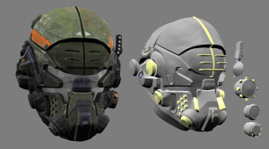 In game helmet model vs high poly model. Yellow geometry are boolean objects.