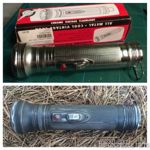 Before/after photos of the $3.97 retro flashlight from Summit Racing.