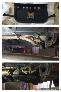 Top: Factory vs All-Pro Offroad Transfer Case Skidplate, Middle: Before, Bottom: After
