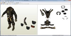 Unwrapped Armor in Pepakura Designer