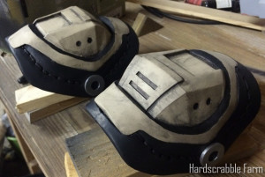 Assembled elbow pads after painting and weathering, but before distressing (adding chrome paint chipped areas).