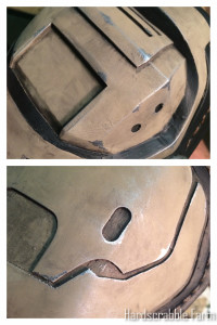 Finished knee pads and pauldrons showing weathering and paint chips.