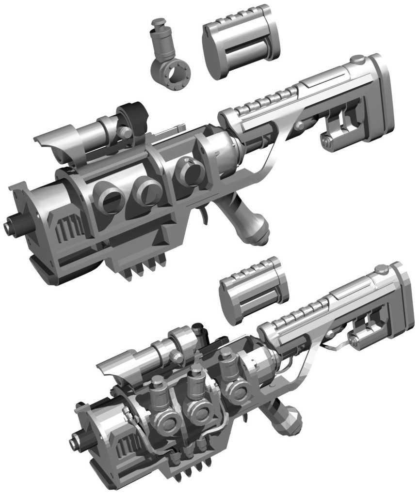 Top: High poly smoothed model Bottom: in-game model
