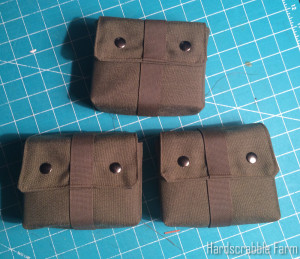 Three Finished wide pouches