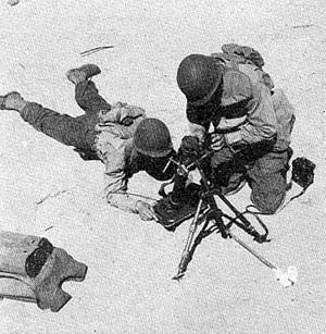60mm mortar squad in action